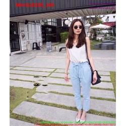 Quần jean nữ lưng cao thắt dây trẻ trung cá tính QJE296