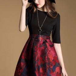Đầm cao cấp - Đầm xòe họa tiết hoa - NR100