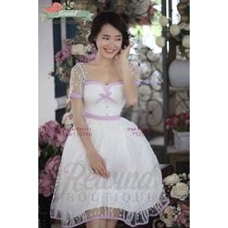 Đầm xòe ren hoa nổi cao cấp V101