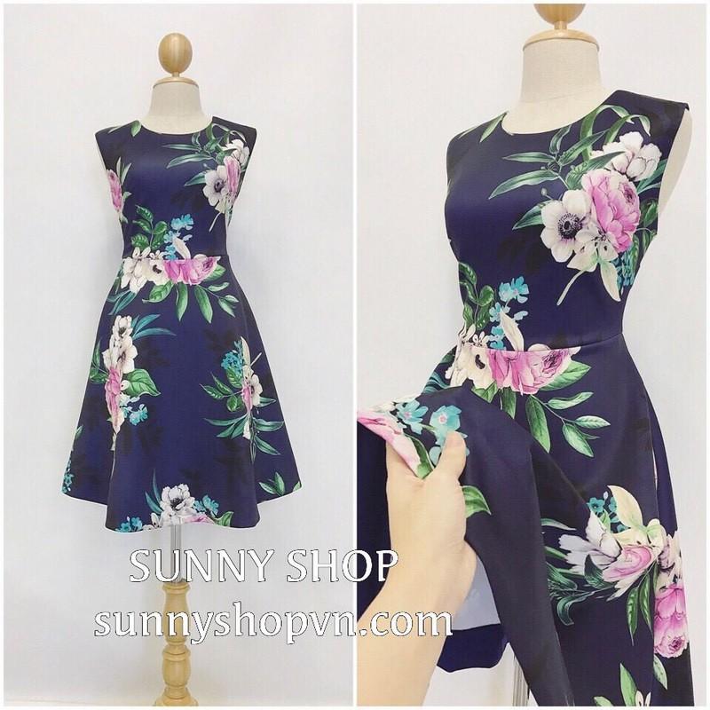 Đầm hoa nền xanh 2