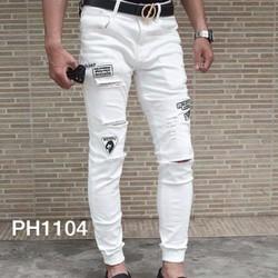 Quần jean jogger rách nam, màu trắng đẳng cấp thời trang