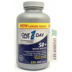 One A Day chai 220 viên Mens 50+ Vitamin cho nam trên 50 One 1 day