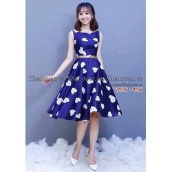 Đầm xanh in tim 3D cao cấp