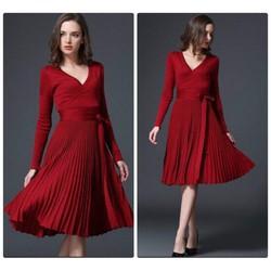 Đầm len chân váy xòe