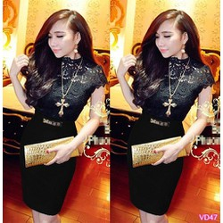 Sét áo ren đen hoa nổi chân váy