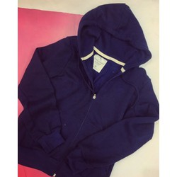 Áo hoodie nỉ dây kéo xanh đen