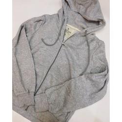 Áo hoodie nỉ dây kéo xám nhạt