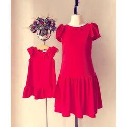 Đầm đôi sắc đỏ cho mẹ bé dễ thương HGS 459