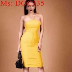Đầm body cúp ngực dây chéo sành điệu màu vàng sang trọng DOC335