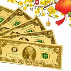 Combo 10 Tờ Tiền Giả Trang Trí USD Mạ Vàng May Mắn Phát Lộc Đầu Năm