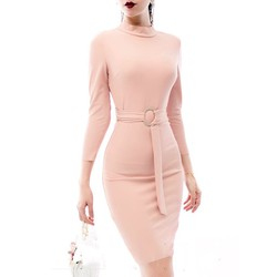 Đầm tay lỡ ôm bodythiết kế cổ lọ thắt dây eo tinh tế M31130
