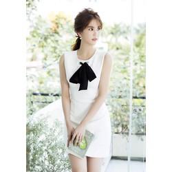 Đầm trắng ngắn dạo phốcột nơ cổ dễ thương Ngọc Trinh M31122