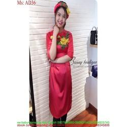 Áo dài nữ cách tân thêu hoa đỏ nền hồng dễ thương AD36
