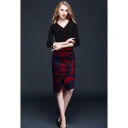 Đầm nhập Quảng Châu váy hoạ tiết kèm belt nhung
