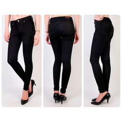 Quần jean đen lưng cao 1 nút