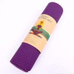 Thảm tập Yoga TPE 8mm 1 lớp - Tím đậm - Tặng túi đựng thời trang