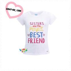 Áo thun in hình chữ Sister best friend 33-35kg