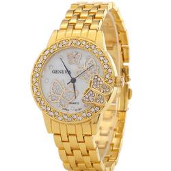 Đồng hồ đính full hột Geneva G6 hoạ tiết Bướm Vàng