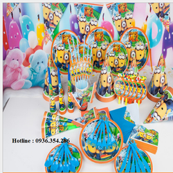 phụ kiện sinh nhật, set 16 món sinh nhật đầy đủ cho bé chủ đề MINIOS