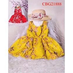 Đầm du xuân hoa đào cực xinh cho bé