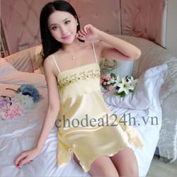 Áo Đầm Ngủ  Phi Bóng Voan Ngực - CDANP01 Vàng Nhạt