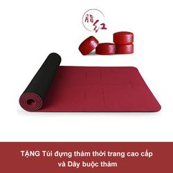 Thảm tập Yoga cao cấp Hatha Đỏ Đô - Tặng 1 túi thời trang