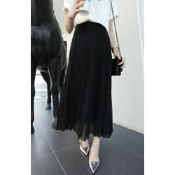 Chân váy dài đen xếp ly vintage