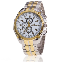 Đồng hồ nam Orlando dây kim loại - Bạc viền Vàng