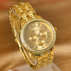 Đồng hồ nữ mạ vàng đính full hạt mặt và dây Geneva G9