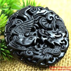 Mặt dây chuyền long phượng, chất liệu đá Obsidian đen