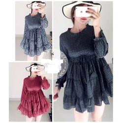 Đầm xòe caro y hình hàng Quảng Châu