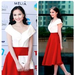 Sét áo trễ vai váy đỏ xòe