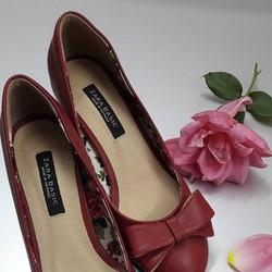 Giày gót vuông 5P đính nơ