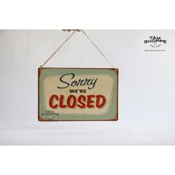 Bảng treo cửa CLOSED bằng thiếc Vintage