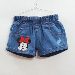Quần short jean bé gái thêu Mickey