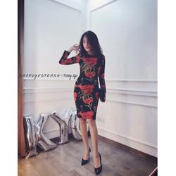 Đầm boddy tay dài in hoa cẩm chướng