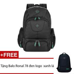 Ba Lô Ronal BL59 Đen logo xanh lá + Tặng ba lô Ronal 78