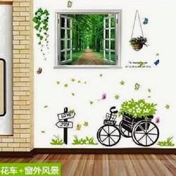 Decal dán tường cửa sổ xe đẩy
