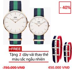 Combo 2 đồng hồ dây vải Nam Nữ Tặng 2 dây thay thế màu sắc ngẫu nhiên