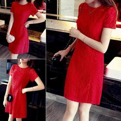 Đầm suông ren tay ngắn đơn giản VN517