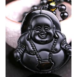 Vòng cổ Phật Di Lặc đá Obsidian đen