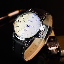 Đồng hồ nam dây da Yazole YR332 Đen mặt trắng