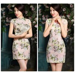 Đầm sườn xám họa tiết xinh xắn