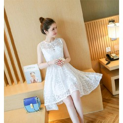 Đầm Mullet ren trắng