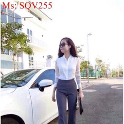 Sét áo sơ mi và quần dài ống suông phong cách công sở SQV255