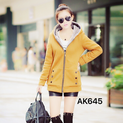 Áo khoác nỉ nữ liền mũ, lót lông nhung ấm áp, màu sắc trẻ trung-AK645