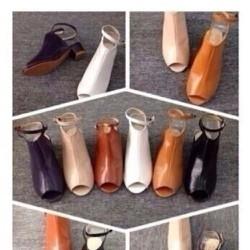 Giày cao gót vuông 5 phân hở mũi kiểu quai hậu GCN179