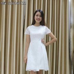 Đầm ren nữ trắng tay cánh tiên
