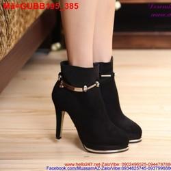 Giày boot nữ da lộn phối viền sắt vàng phong cách GUBB195