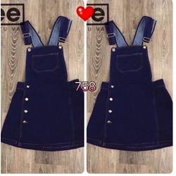 Yếm jeans đính nút hông size S, M, L - A28523